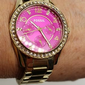 Fossil Riley Multi-Function Gold Tone Watch